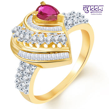 Pissara Bewitching Two Tone CZ Ruby Ring, 11