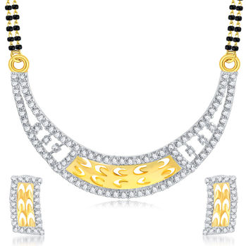 Pissara Intricately Gold Plated CZ Mangalsutra Set For Women
