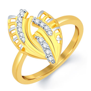 Pissara Delightly Gold and Rhodium Plated CZ Ring, 16