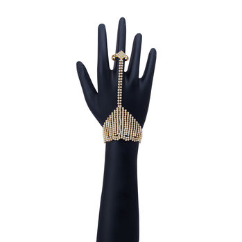 Shostopper Elegant Gold Plated AD Haathphool with 1 Finger Ring