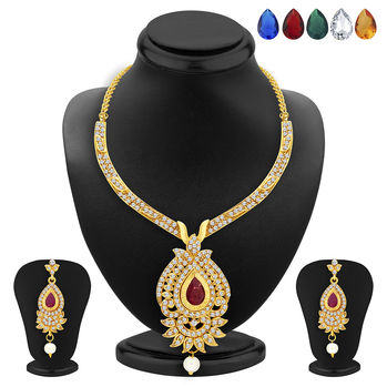 Sukkhi Magnificent Necklace Set Detachable to Pendant Set with Chain and Set of 5 Changeable Stone For Women