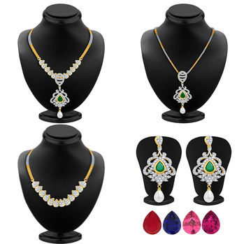 Pissara Classic Detachable 4 in 1 CZ Jewellery Set with Chain and 5 Changeable Stone