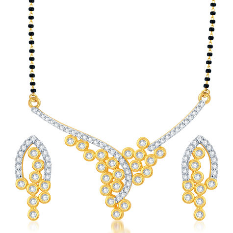 Pissara Beguiling Gold and Rhodium Plated CZ Mangalsutra Set