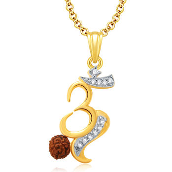 Pissara Om Gold And Rhodium Plated CZ Pendant Set For Women