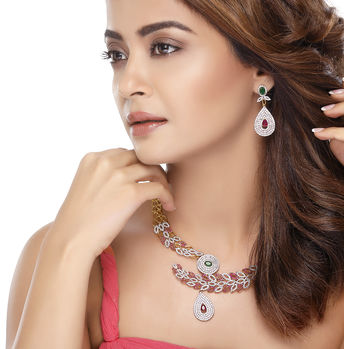 Sukkhi Surveen Chawla Collections Marvellous Ruby and Emerald Studded Gold and Rhodium Plated CZ Necklace Set