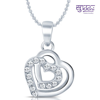 Sukkhi Magnificent Rhodium Plated Valentine Heart Pendant with Chain