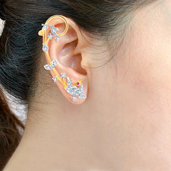 Pissara Fascinating Gold and Rhodium Plated Cubic Zirconia Stone Studded Ear cuff