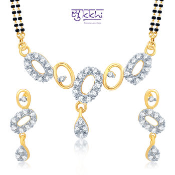 Pissara Estonish Gold and Rhodium Plated Cubic Zirconia Stone Studded Mangalsutra Set