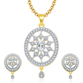Pissara Legendry Gold And Rhodium Plated CZ Pendant Set For Women
