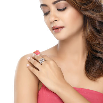 Sukkhi Surveen Chawla Collections Sublime Rhodium plated CZ Studded Ring, 8