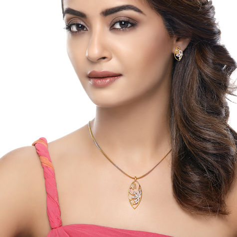 Sukkhi Surveen Chawla Collections Intricately Gold and Rhodium Plated CZ Pendant Set