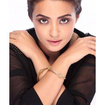 Sukkhi Surveen Chawla Collections Fine Gold and Rhodium Plated CZ Bangles, 2.6