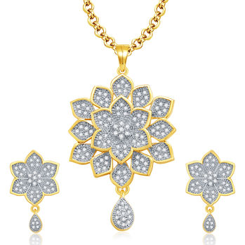 Pissara Incredible Gold And Rhodium Plated CZ Pendant Set For Women