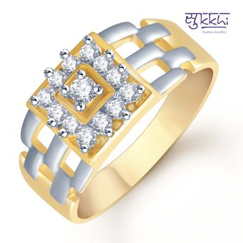 Pissara Gold and Rhodium Plated CZ Ring for Men(105GRK600), 18