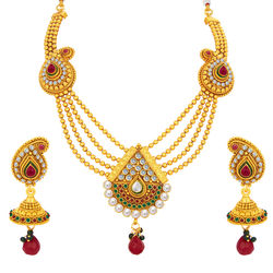 Sukkhi Glittery Four String Gold Plated Necklace Set For Women