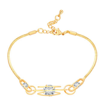 Sukkhi Youthful Solitaire Gold Plated CZ Bracelet For Women