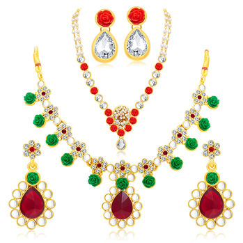 Sukkhi Cluster Gold Plated AD Set of 2 Necklace Set Combo For Women