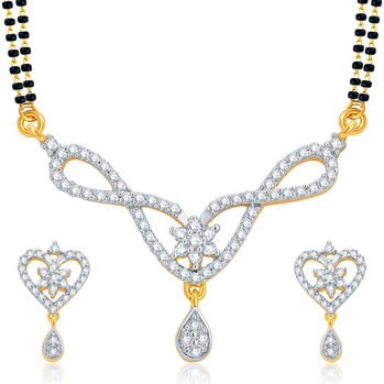 Pissara Alluring Gold and Rhodium Plated CZ Mangalsutra Set For Women