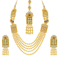 Sukkhi Sublime Five String Peacock Gold Plated Necklace Set For Women