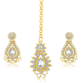 Sukkhi Stunning Gold Plated AD Earring With Mangtikka Set For Women