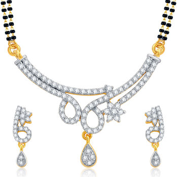 Pissara Splendid Gold and Rhodium Plated CZ Mangalsutra Set For Women
