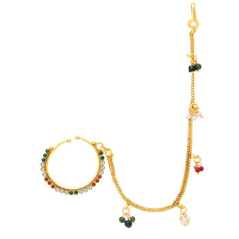 Sukkhi Glittery Gold Plated Nose Pin For Women