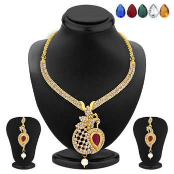 Sukkhi Sleek Peacock Necklace Set Detachable to Pendant Set with Chain and Set of 5 Changeable Stone For Women