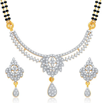 Pissara Excellent Gold and Rhodium Plated CZ Mangalsutra Set For Women
