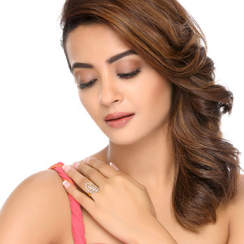 Sukkhi Surveen Chawla Collections Marquise Gold and Rhodium Plated Cubic Zirconia Ring, 15