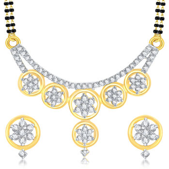 Pissara Exquitely Gold Plated CZ Mangalsutra Set For Women