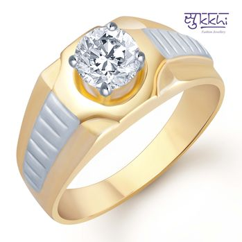 Pissara Gold and Rhodium Plated Solitaire CZ Ring for Men(125GRK700), 22