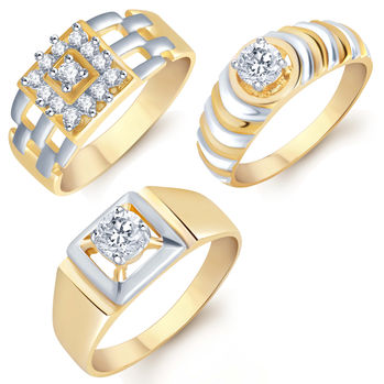 Pissara Incredible Gold & Rhodium Plated CZ Set of 3 Ring Combo For Men, 18
