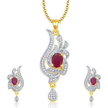 Pissara Outrageous Gold And Rhodium Plated Ruby CZ Pendant Set For Women