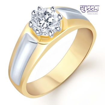 Pissara Gold and Rhodium Plated Solitaire CZ Ring for Men(133GRK590), 22