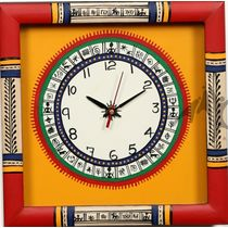 Aakriti Arts WALL CLOCK WITH GLASS, yellow red, 10x10  g