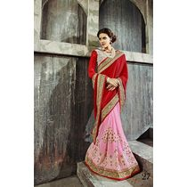 Impeccable Collection Designer Wedding Saree Pink & Red, pink & red, georgette