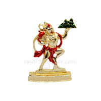 Hanuman Pahad Statue, 7.5 cm, colourful, white metal