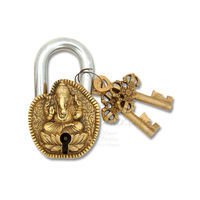Brass Metal Craft Made Door Padlock With Ganesha Face, 4.5 inches, gold, brass