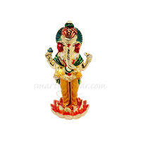 Ganesh On Kamal Statue, 8 cm, colourful, white metal