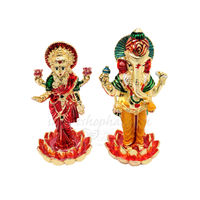 Laxmi Ganesh Statue, 7 cm, colourful, white metal
