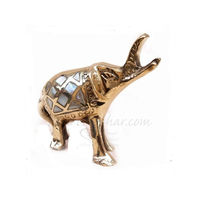 METAL BRASS ELEPHANT WITH MOTHER OF PEARLS, 4 inches, gold, brass