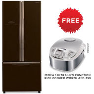 Hitachi Bottom Freezer Refrigerator, RWB480,  Glass Brown, 480 L