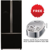 Hitachi Bottom Freezer Refrigerator, RWB480,  Glass Black, 480 L