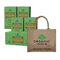 Organic India 5 Tulsi Green Tea Teabags Boxes - Free Jutebag