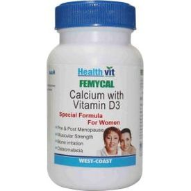 HealthVit FEMYCAL Calcium and Vitamin D3 60 Tablets(Pack of 2)