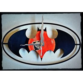 Upcycled Vinyl Record Batman Clock