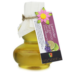 Soulflower Lavender Bergamot Calming Aroma Massage Oil - 90 ml