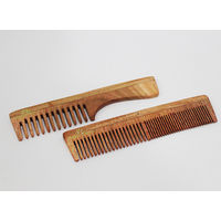 Vedic Delite Neem Wooden Combo: Fine Tooth & Grooming Comb with Handle