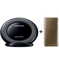 SAMSUNG FAST WIRELESS CHARGER STAND+ SAMSUNG GALAXY S7 EDGE CLEAR VIEW COVER GOLD