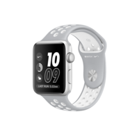 APPLE SMARTWATCH 42MM ALUMINIUM CASE WITH WHITE NIKE SPORT BAND SILVER